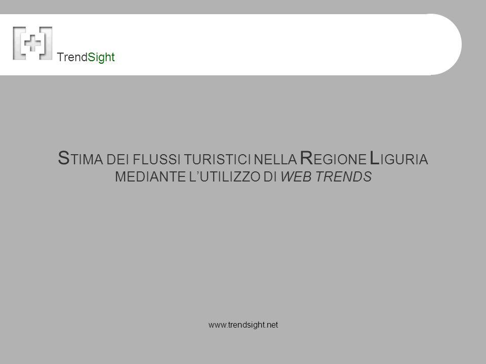 S TIMA DEI FLUSSI TURISTICI NELLA R EGIONE L IGURIA MEDIANTE L'UTILIZZO DI WEB TRENDS www.trendsight.net TrendSight
