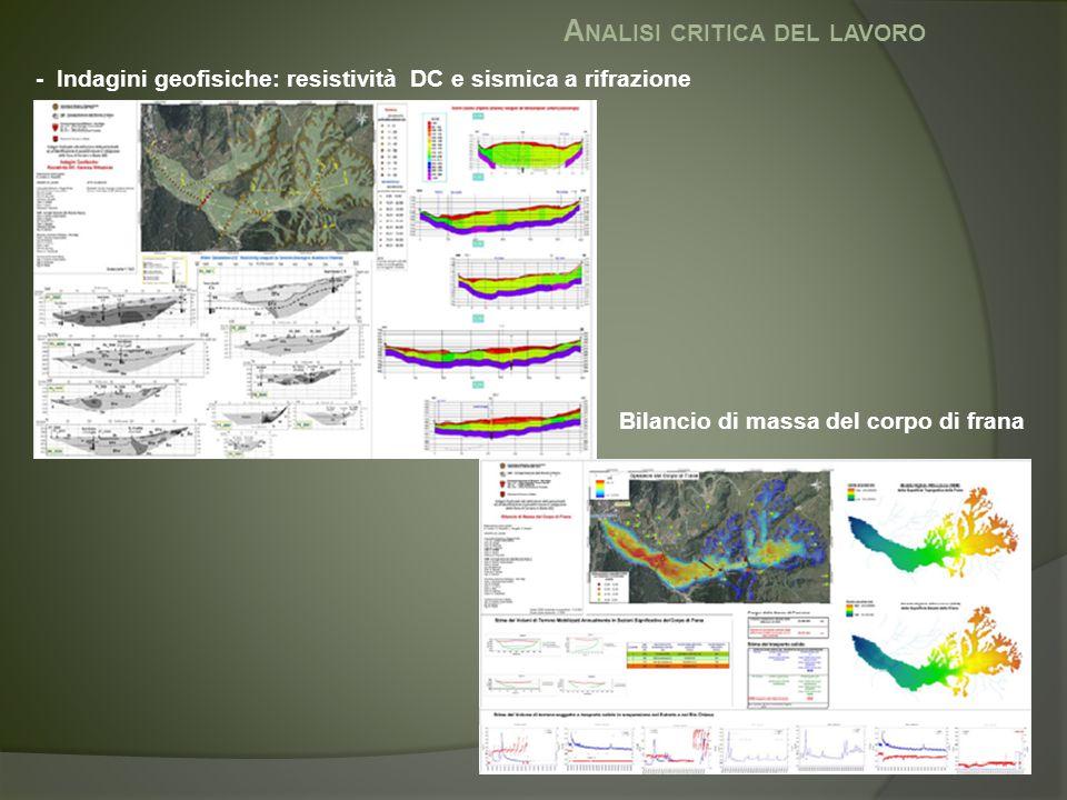 A NALISI CRITICA DEL LAVORO - Indagini geofisiche: resistività DC e sismica a rifrazione Bilancio di massa del corpo di frana