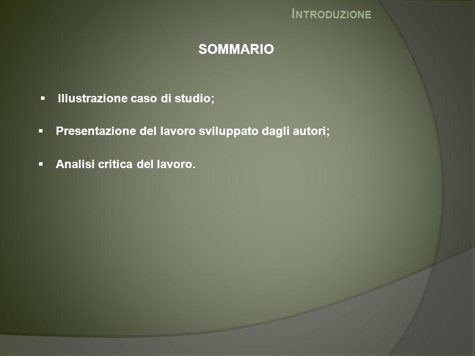 I NTRODUZIONE  Illustrazione caso di studio; SOMMARIO  Presentazione del lavoro sviluppato dagli autori;  Analisi critica del lavoro.