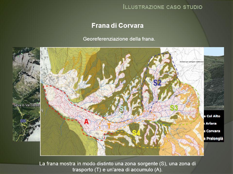 I LLUSTRAZIONE CASO STUDIO Frana di Corvara Georeferenziazione della frana. La frana mostra in modo distinto una zona sorgente (S), una zona di traspo