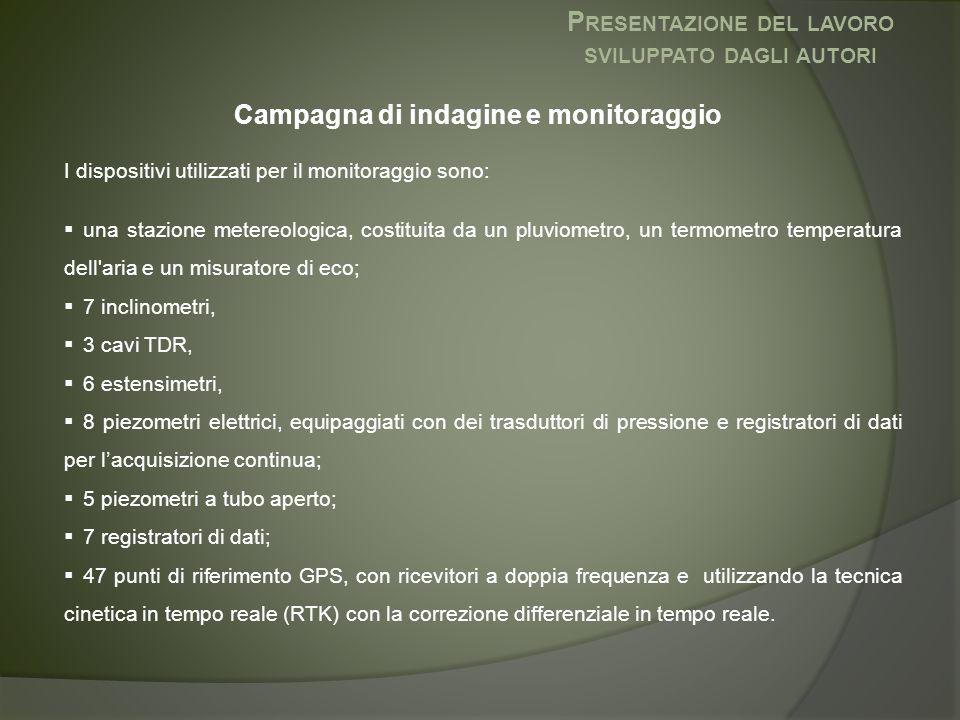 Campagna di indagine e monitoraggio I dispositivi utilizzati per il monitoraggio sono:  una stazione metereologica, costituita da un pluviometro, un