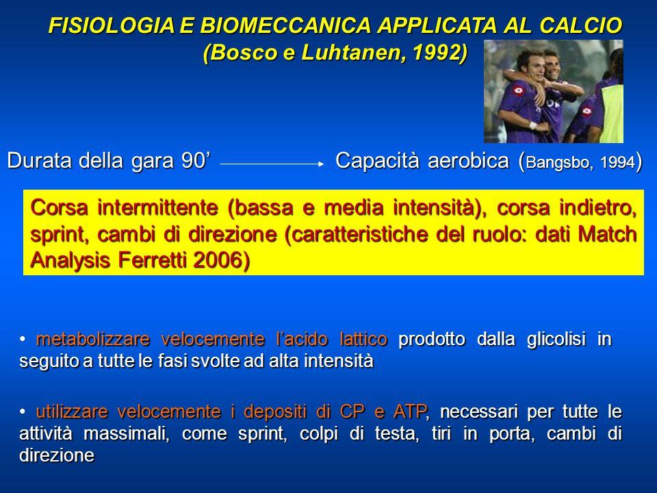 FISIOLOGIA E BIOMECCANICA APPLICATA AL CALCIO (Bosco e Luhtanen, 1992) Durata della gara 90' Capacità aerobica ( Bangsbo, 1994 ) Corsa intermittente (