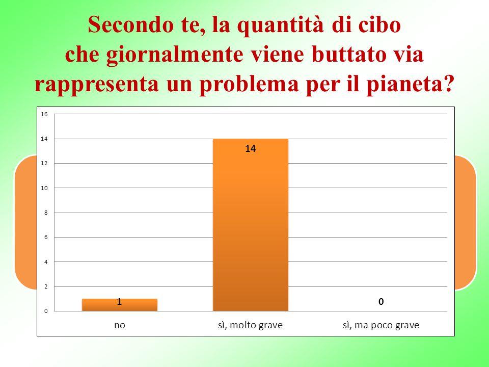 Secondo te, la quantità di cibo che giornalmente viene buttato via rappresenta un problema per il pianeta? Proposta: tre incontri annuali, tenuti da n