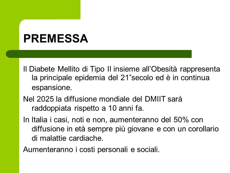 PREMESSA Il Diabete Mellito di Tipo II insieme all'Obesità rappresenta la principale epidemia del 21°secolo ed è in continua espansione.