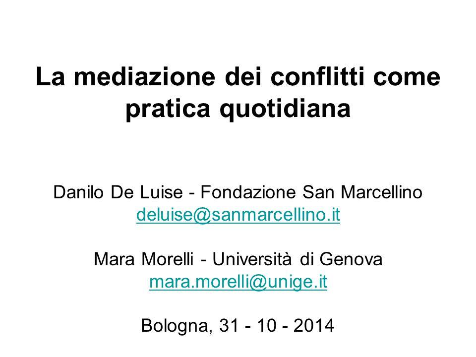La mediazione dei conflitti come pratica quotidiana Danilo De Luise - Fondazione San Marcellino deluise@sanmarcellino.it Mara Morelli - Università di