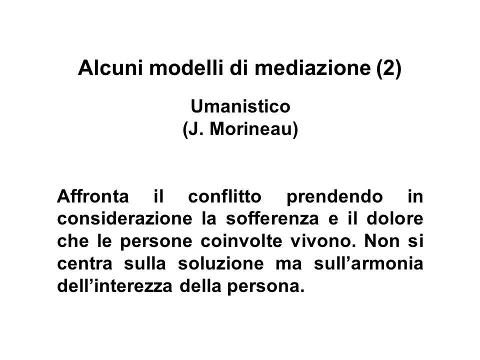 Alcuni modelli di mediazione (2) Umanistico (J. Morineau) Affronta il conflitto prendendo in considerazione la sofferenza e il dolore che le persone c