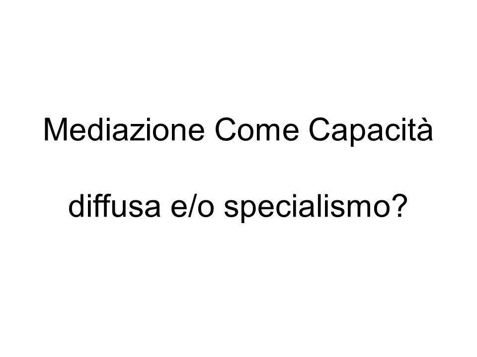 Mediazione Come Capacità diffusa e/o specialismo?