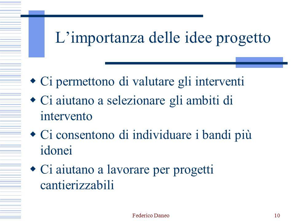 L'importanza delle idee progetto  Ci permettono di valutare gli interventi  Ci aiutano a selezionare gli ambiti di intervento  Ci consentono di ind