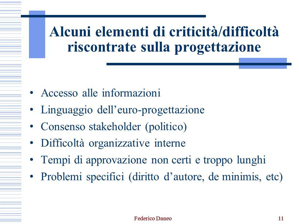 11 Alcuni elementi di criticità/difficoltà riscontrate sulla progettazione Accesso alle informazioni Linguaggio dell'euro-progettazione Consenso stake