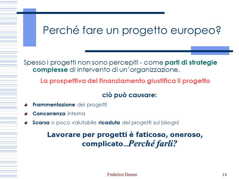 Federico Daneo14 Perché fare un progetto europeo? Spesso i progetti non sono percepiti - come parti di strategie complesse di intervento di un'organiz