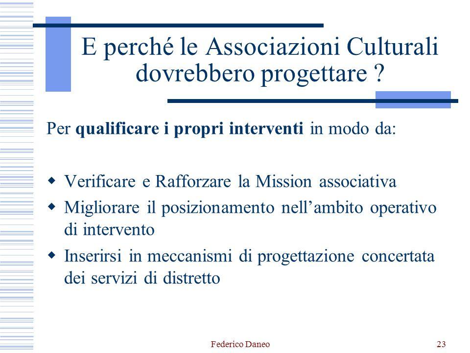 Federico Daneo23 E perché le Associazioni Culturali dovrebbero progettare ? Per qualificare i propri interventi in modo da:  Verificare e Rafforzare