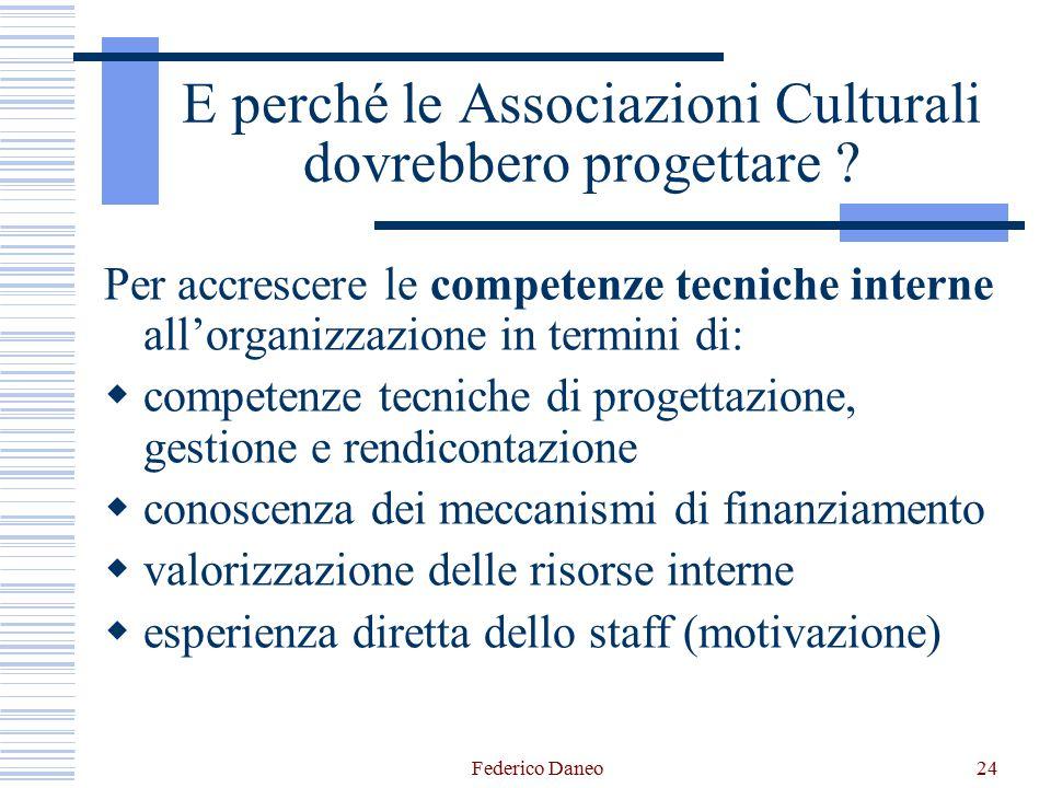 Federico Daneo24 E perché le Associazioni Culturali dovrebbero progettare ? Per accrescere le competenze tecniche interne all'organizzazione in termin
