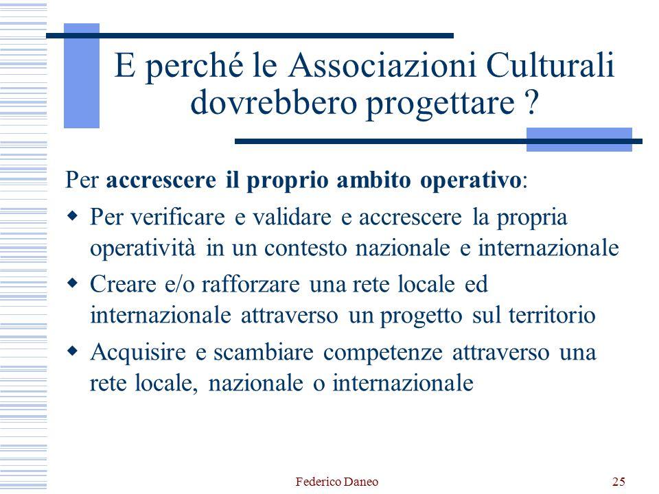Federico Daneo25 E perché le Associazioni Culturali dovrebbero progettare ? Per accrescere il proprio ambito operativo:  Per verificare e validare e