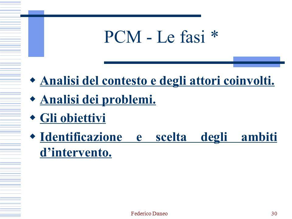 Federico Daneo30 PCM - Le fasi *  Analisi del contesto e degli attori coinvolti.  Analisi dei problemi.  Gli obiettivi  Identificazione e scelta d