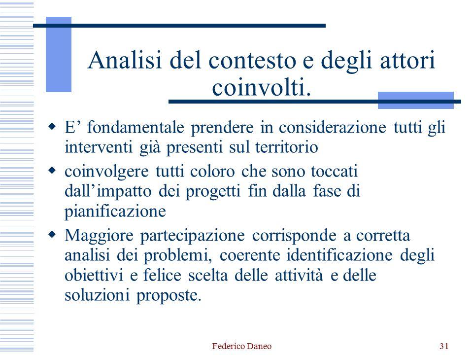 Federico Daneo31 Analisi del contesto e degli attori coinvolti.  E' fondamentale prendere in considerazione tutti gli interventi già presenti sul ter