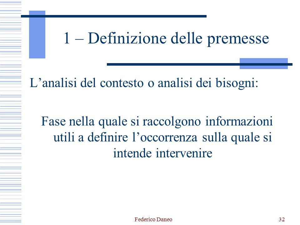 Federico Daneo32 1 – Definizione delle premesse L'analisi del contesto o analisi dei bisogni: Fase nella quale si raccolgono informazioni utili a defi