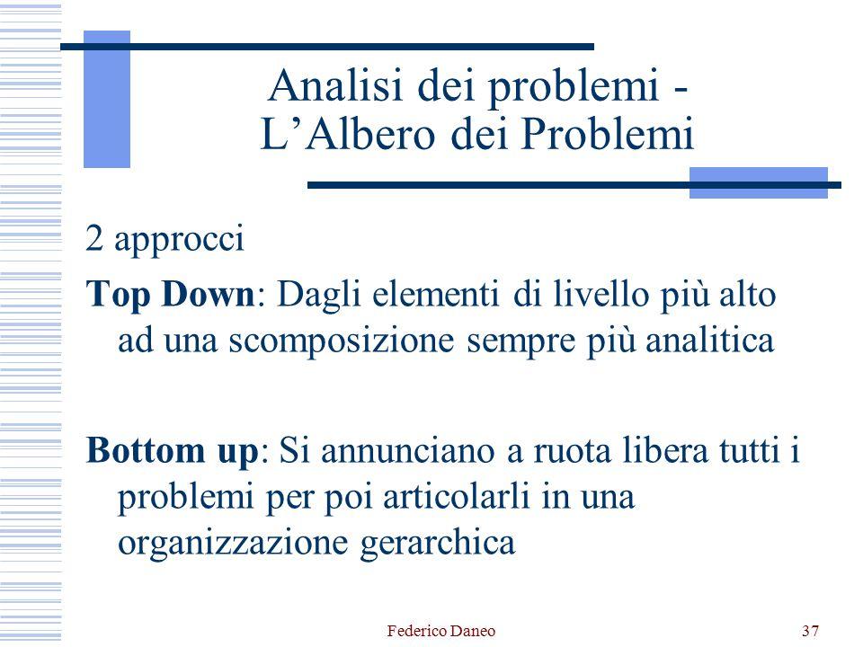 Federico Daneo37 Analisi dei problemi - L'Albero dei Problemi 2 approcci Top Down: Dagli elementi di livello più alto ad una scomposizione sempre più