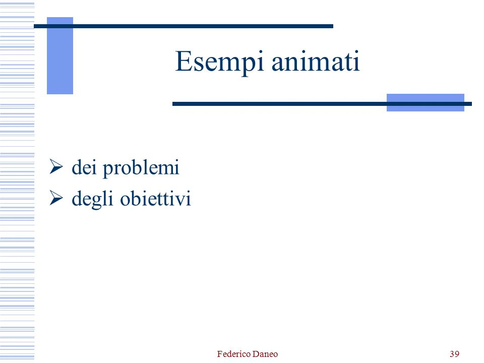  dei problemi  degli obiettivi Federico Daneo39 Esempi animati