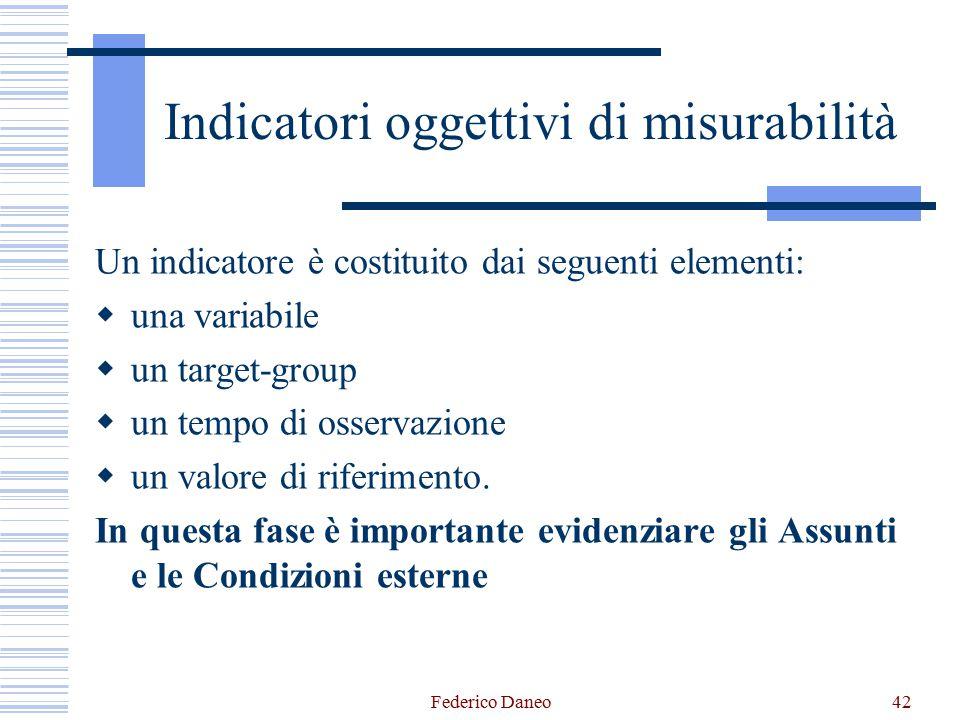 Federico Daneo42 Indicatori oggettivi di misurabilità Un indicatore è costituito dai seguenti elementi:  una variabile  un target-group  un tempo di osservazione  un valore di riferimento.
