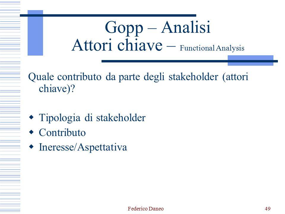 Gopp – Analisi Attori chiave – Functional Analysis Quale contributo da parte degli stakeholder (attori chiave).