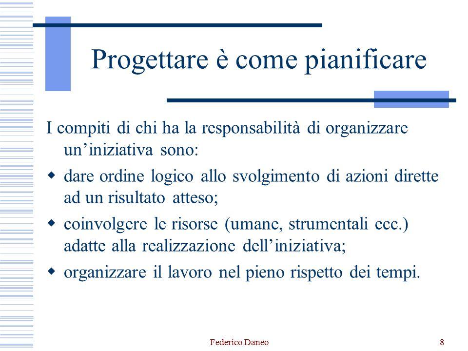Federico Daneo8 Progettare è come pianificare I compiti di chi ha la responsabilità di organizzare un'iniziativa sono:  dare ordine logico allo svolg