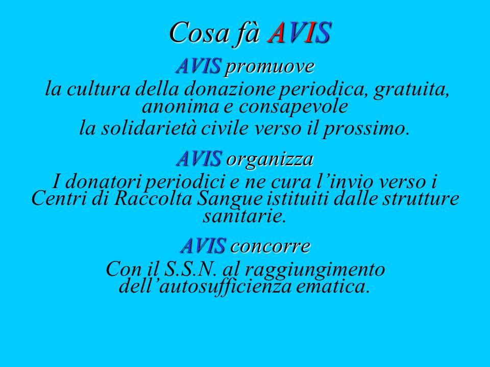 Cosa fà AVIS AVIS promuove la cultura della donazione periodica, gratuita, anonima e consapevole la solidarietà civile verso il prossimo.