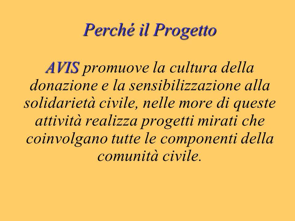 Perché il Progetto AVIS AVIS promuove la cultura della donazione e la sensibilizzazione alla solidarietà civile, nelle more di queste attività realizza progetti mirati che coinvolgano tutte le componenti della comunità civile.