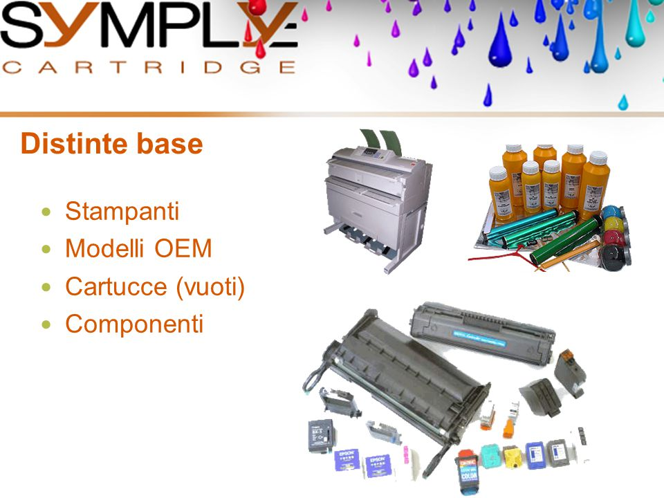 Distinte base Stampanti Modelli OEM Cartucce (vuoti) Componenti