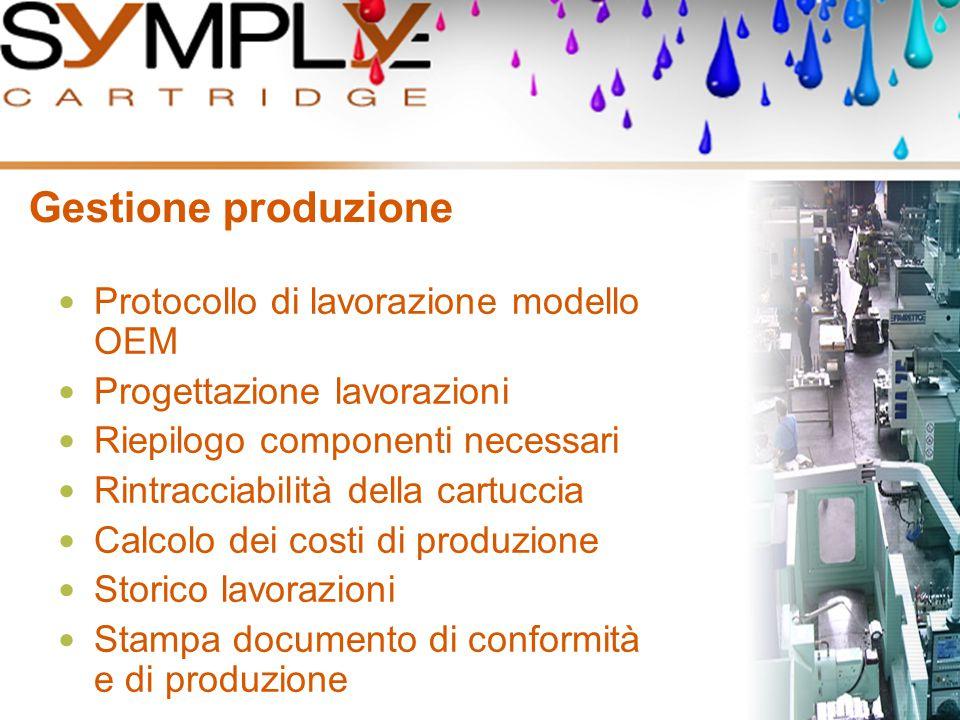 Gestione produzione Protocollo di lavorazione modello OEM Progettazione lavorazioni Riepilogo componenti necessari Rintracciabilità della cartuccia Ca