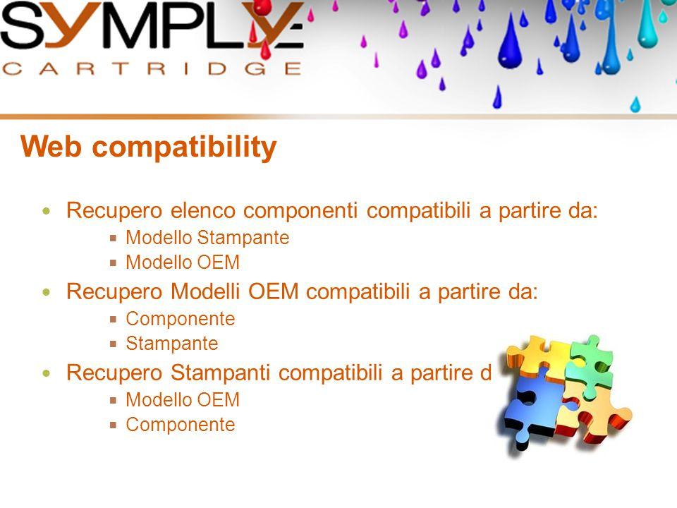Web compatibility Recupero elenco componenti compatibili a partire da:  Modello Stampante  Modello OEM Recupero Modelli OEM compatibili a partire da