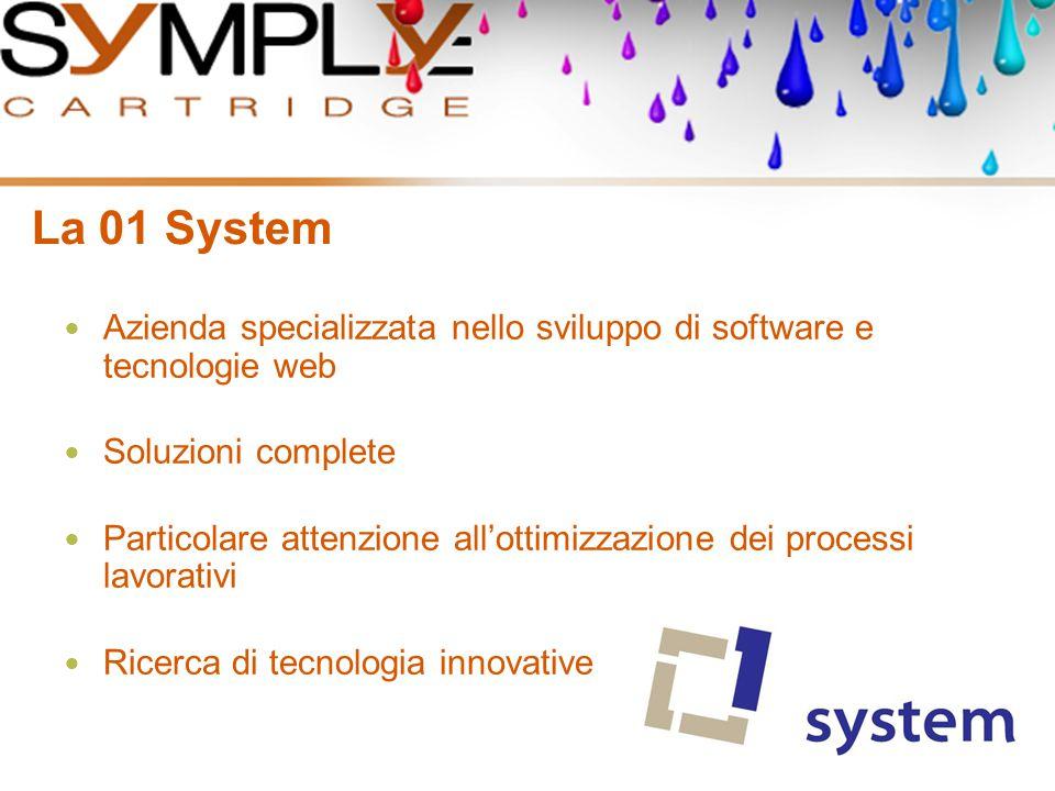 Indice degli argomenti La 01 System Perché Symply Cartridge L'architettura Il Gestionale I Workflow in Symply Cartridge Plug-in e Utility Web Agenti E-Business Web Compatibility
