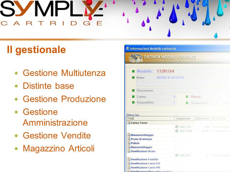 Il gestionale Gestione Multiutenza Distinte base Gestione Produzione Gestione Amministrazione Gestione Vendite Magazzino Articoli