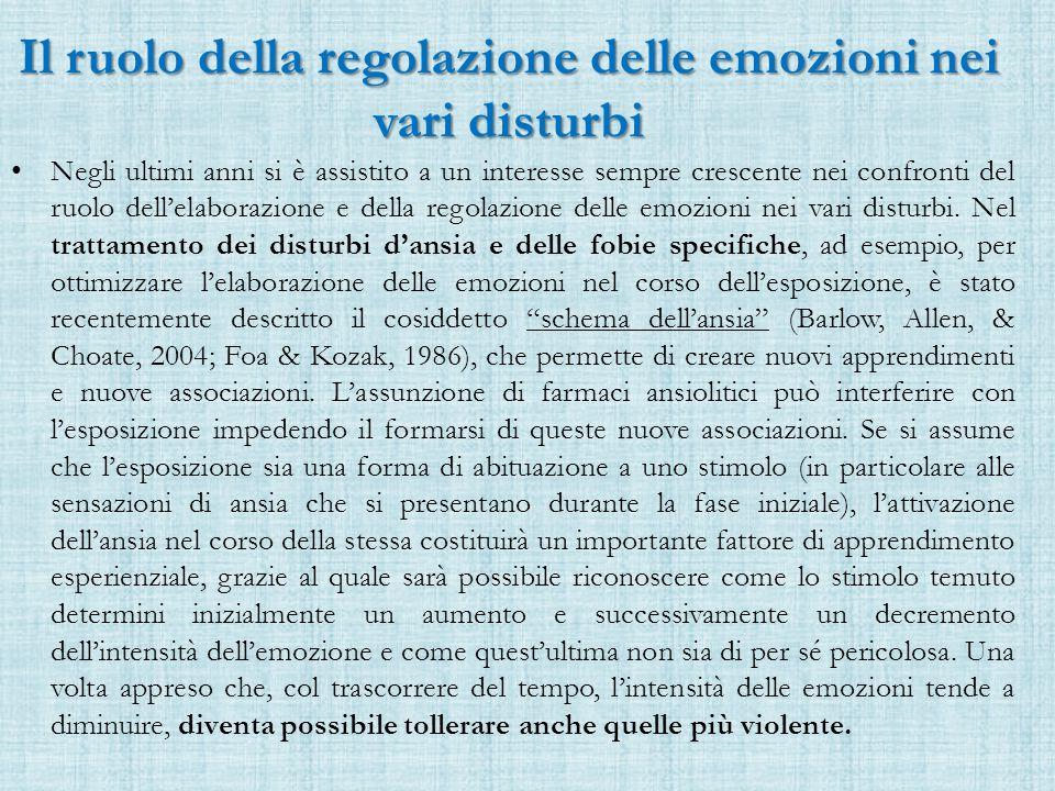 Il ruolo della regolazione delle emozioni nei vari disturbi Negli ultimi anni si è assistito a un interesse sempre crescente nei confronti del ruolo dell'elaborazione e della regolazione delle emozioni nei vari disturbi.
