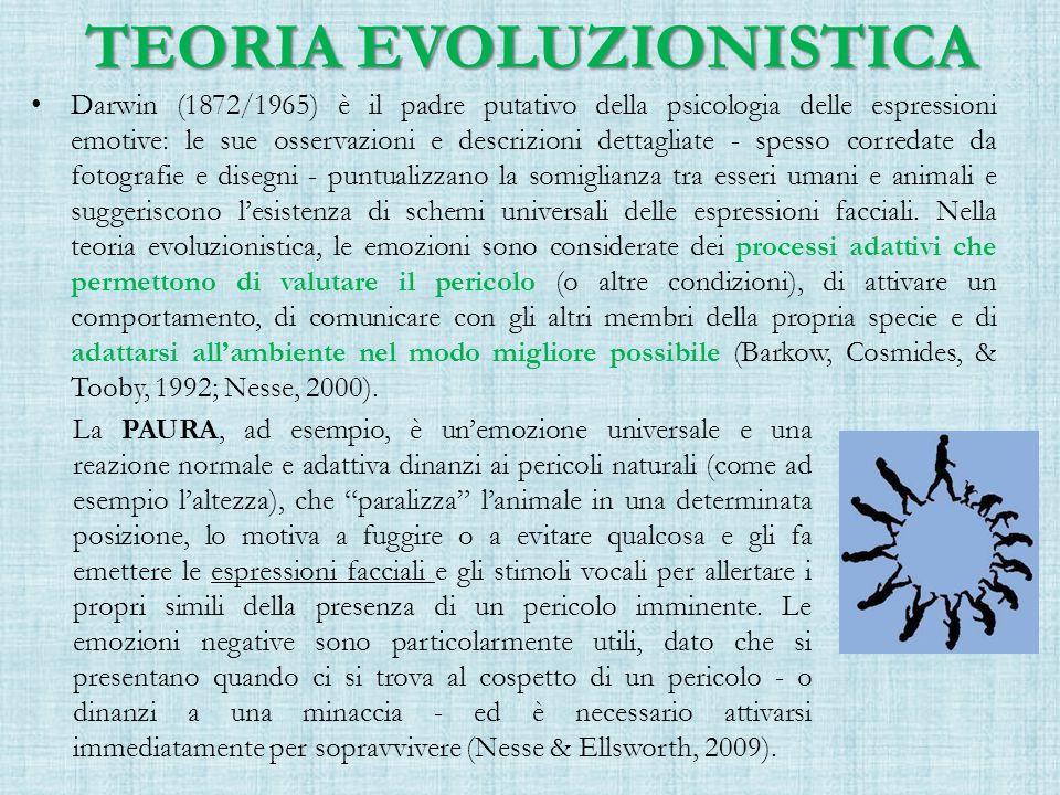 TEORIA EVOLUZIONISTICA Darwin (1872/1965) è il padre putativo della psicologia delle espressioni emotive: le sue osservazioni e descrizioni dettagliate - spesso corredate da fotografie e disegni - puntualizzano la somiglianza tra esseri umani e animali e suggeriscono l'esistenza di schemi universali delle espressioni facciali.