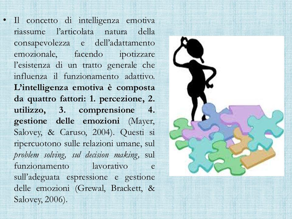 Il concetto di intelligenza emotiva riassume l'articolata natura della consapevolezza e dell'adattamento emozionale, facendo ipotizzare l'esistenza di un tratto generale che influenza il funzionamento adattivo.