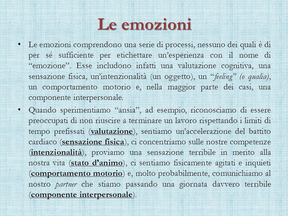 Le emozioni Le emozioni comprendono una serie di processi, nessuno dei quali è di per sé sufficiente per etichettare un'esperienza con il nome di emozione .