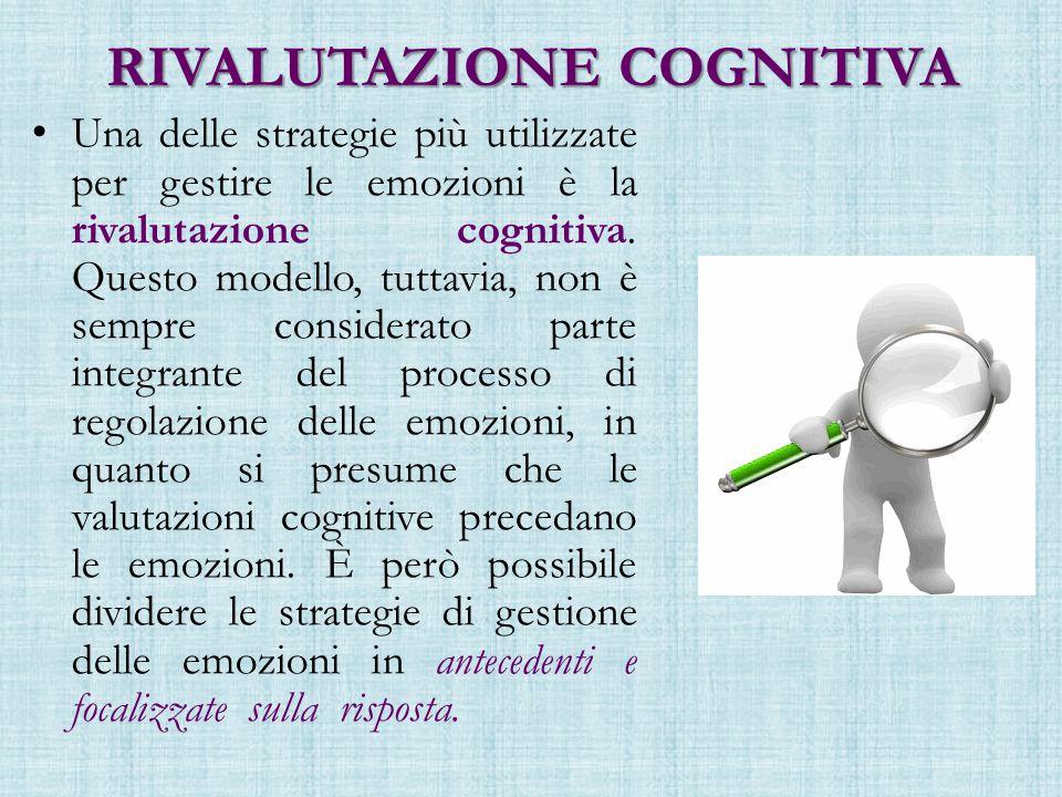 RIVALUTAZIONE COGNITIVA Una delle strategie più utilizzate per gestire le emozioni è la rivalutazione cognitiva.