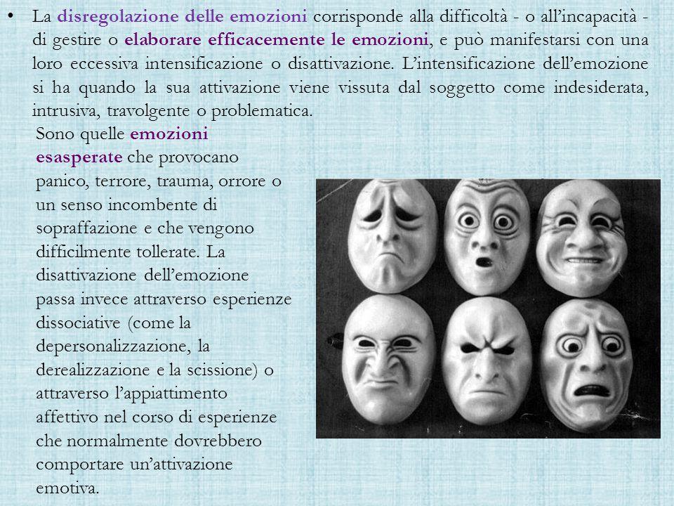 La disregolazione delle emozioni corrisponde alla difficoltà - o all'incapacità - di gestire o elaborare efficacemente le emozioni, e può manifestarsi con una loro eccessiva intensificazione o disattivazione.