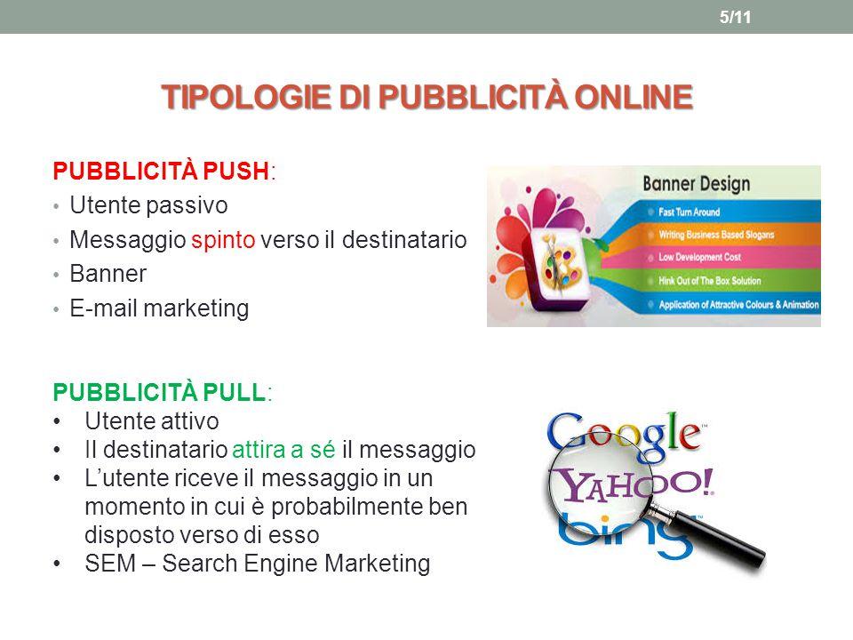 TIPOLOGIE DI PUBBLICITÀ ONLINE PUBBLICITÀ PUSH: Utente passivo Messaggio spinto verso il destinatario Banner E-mail marketing PUBBLICITÀ PULL: Utente