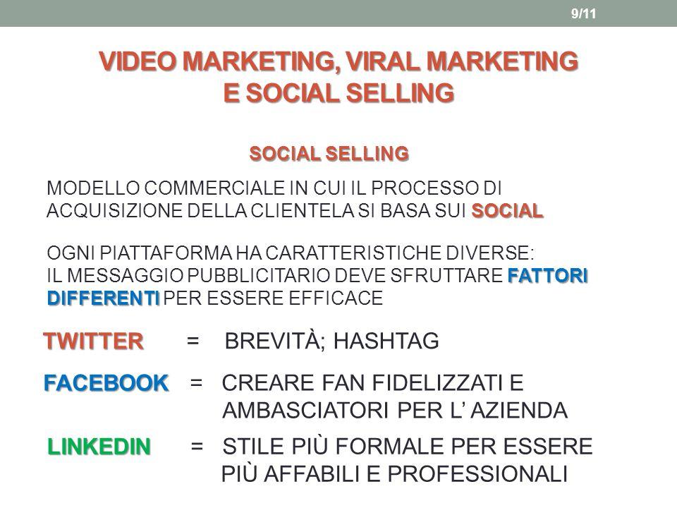VIDEO MARKETING, VIRAL MARKETING E SOCIAL SELLING SOCIAL SELLING SOCIAL MODELLO COMMERCIALE IN CUI IL PROCESSO DI ACQUISIZIONE DELLA CLIENTELA SI BASA