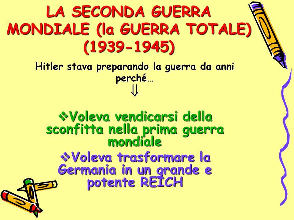 LA SECONDA GUERRA MONDIALE (la GUERRA TOTALE) (1939-1945) Hitler stava preparando la guerra da anni perché…  Voleva vendicarsi della sconfitta nella