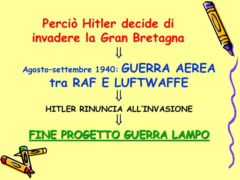 Perciò Hitler decide di invadere la Gran Bretagna  Agosto–settembre 1940: GUERRA AEREA tra RAF E LUFTWAFFE HITLER RINUNCIA ALL'INVASIONE FINE PROGE