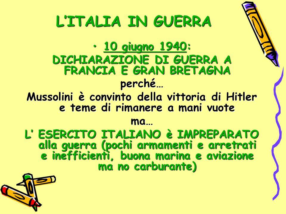 L'ITALIA IN GUERRA 10 giugno 1940:10 giugno 1940: DICHIARAZIONE DI GUERRA A FRANCIA E GRAN BRETAGNA perché… Mussolini è convinto della vittoria di Hit