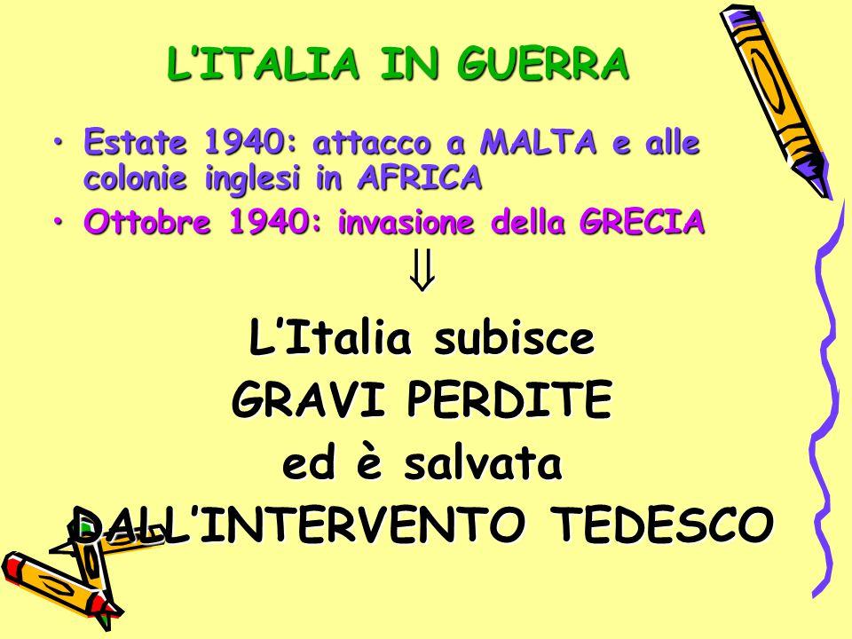 L'ITALIA IN GUERRA Estate 1940: attacco a MALTA e alle colonie inglesi in AFRICAEstate 1940: attacco a MALTA e alle colonie inglesi in AFRICA Ottobre