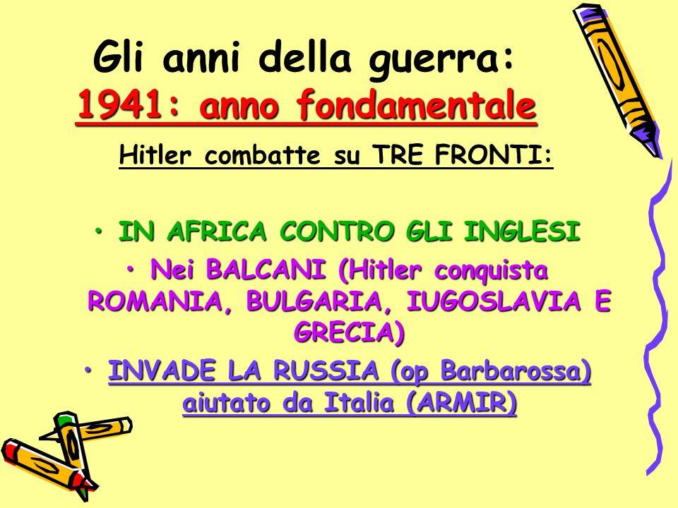 1941: anno fondamentale Gli anni della guerra: 1941: anno fondamentale Hitler combatte su TRE FRONTI: IN AFRICA CONTRO GLI INGLESIIN AFRICA CONTRO GLI