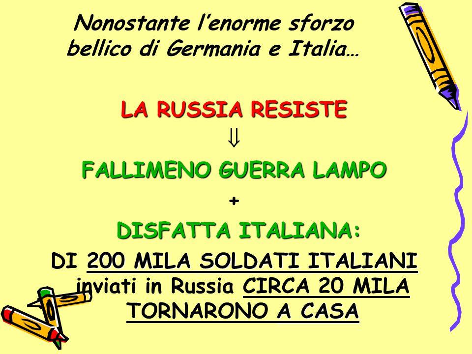 Nonostante l'enorme sforzo bellico di Germania e Italia… LA RUSSIA RESISTE  FALLIMENO GUERRA LAMPO + DISFATTA ITALIANA: 200 MILA SOLDATI ITALIANI A C
