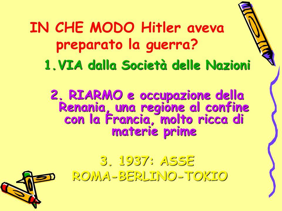 IN CHE MODO Hitler aveva preparato la guerra? 1.VIA dalla Società delle Nazioni 2. RIARMO e occupazione della Renania, una regione al confine con la F