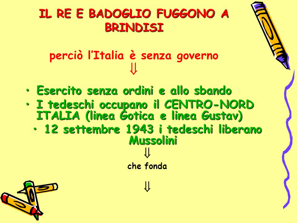 IL RE E BADOGLIO FUGGONO A BRINDISI IL RE E BADOGLIO FUGGONO A BRINDISI perciò l'Italia è senza governo  Esercito senza ordini e allo sbandoEsercito