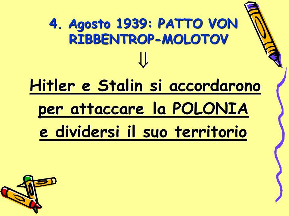 4. Agosto 1939: PATTO VON RIBBENTROP-MOLOTOV  Hitler e Stalin si accordarono per attaccare la POLONIA e dividersi il suo territorio