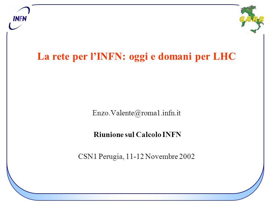La rete per l'INFN: oggi e domani per LHC Enzo.Valente@roma1.infn.it Riunione sul Calcolo INFN CSN1 Perugia, 11-12 Novembre 2002